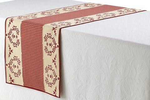 Tischläufer in beige/rot