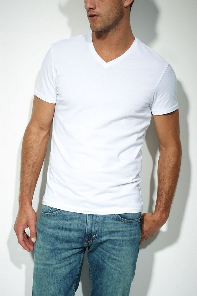 Levi's® T-Shirts (kurzarm) »SLIM 2 PACK V NECK TEE« in WHITE 60 and WHITE