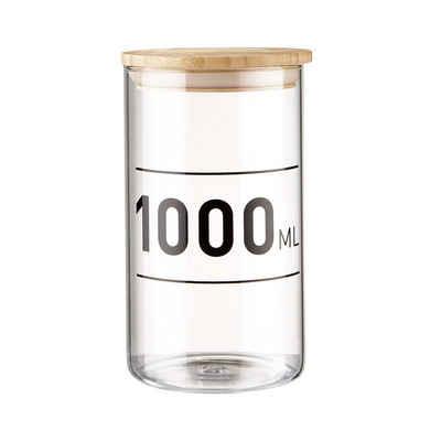 BUTLERS Vorratsglas »WOODLOCK Vorratsdose mit Druck 1000ml«, Borosilikatglas, Bambus