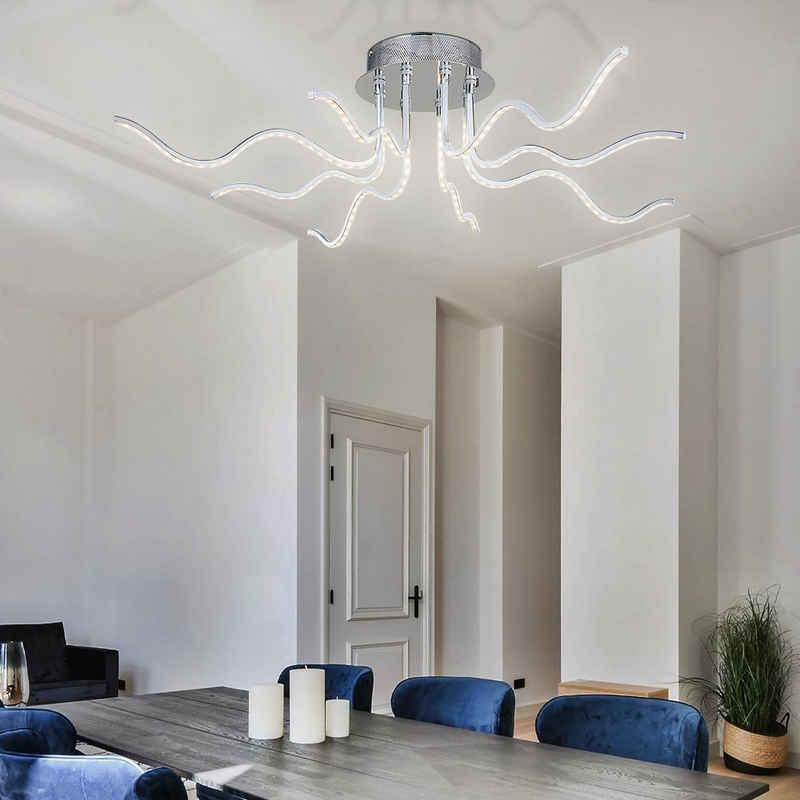 WOFI Deckenstrahler, LED Deckenleuchte Deckenlampe Wohnzimmerlampe Küchenleuchte Esszimmerlampe Designer Lampe, Glas Metall, 1500 Lumen, DxH 90x23cm Wofi 9759.08.01.0000