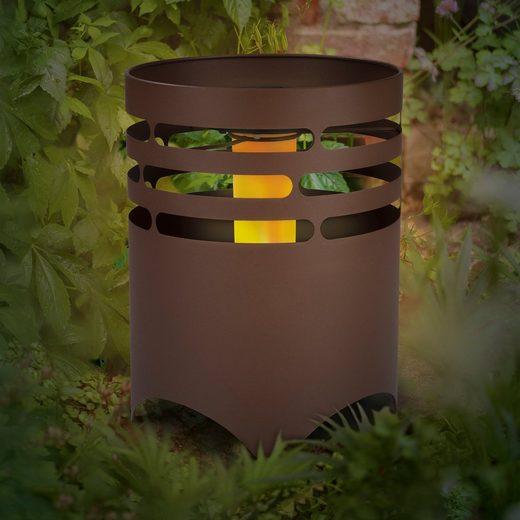 MAXXMEE Dekolicht, Solar Feuerstelle in Rost-Optik 25,5 cm