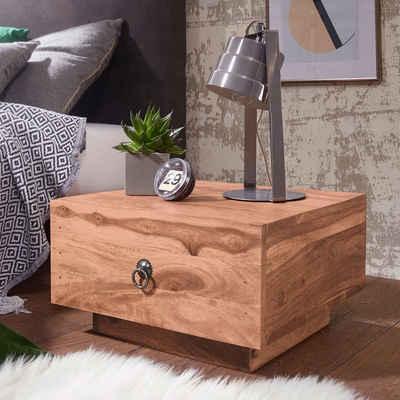 FINEBUY Nachtschrank »SuVa3532_1« Design Nachttisch Massiv-Holz 40x40x25 cm Moderne Nacht-Kommode mit Schublade Nachtschrank Natur-Holz Nachtkonsole (FSC® Mix)