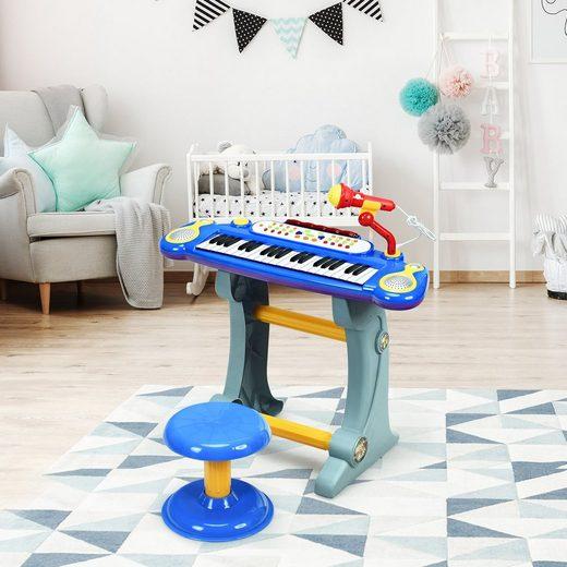 COSTWAY Keyboard »Kinder Keyboard«, 37 Tasten, inkl. Mikrofon, mit Ständer&Lichter, Blau