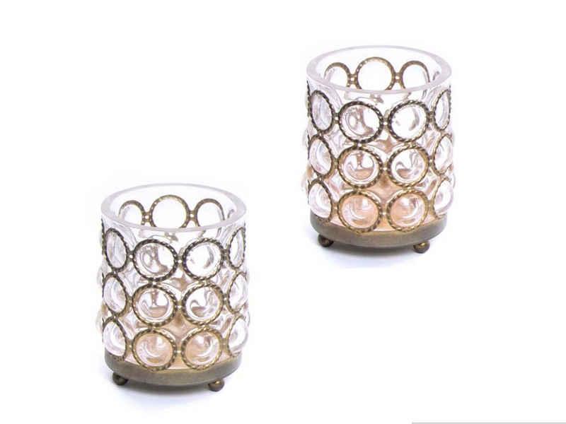 Cosy Home Ideas Windlicht »Windlicht 2er Set Glas gold« (Set, 2-er Set), Glas & gold farbenes Metall