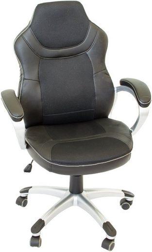 NATIV Haushalt Schreibtischstuhl, schwarz mit Rollen, höhenverstellbar, regulierbare Wippmechanik