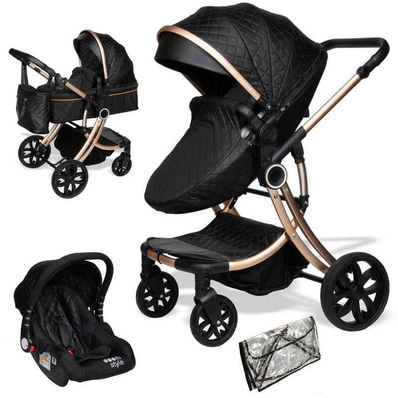 ib style Sport-Kinderwagen »Juma 3 in 1 Kombi-Kinderwagen inkl. Babyschale SCHWARZ / CHAMPAGNER«, Kinderwagen + Buggy - inkl. Autoschale - inkl. Regenschutz - Klappbar