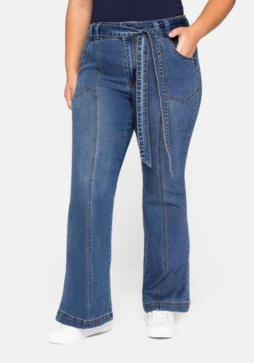 Sheego Stretch-Jeans Schlagjeans mit High-Waist-Bund