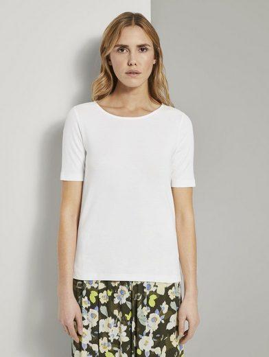 TOM TAILOR T-Shirt »Basic T-Shirt mit weitem Ausschnitt«