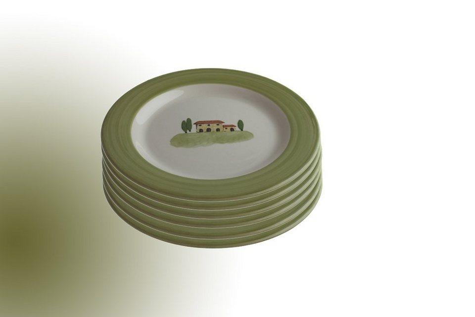 Zeller Keramik Set: Speiseteller 6er-Set »Bella Toscana« in Weiß