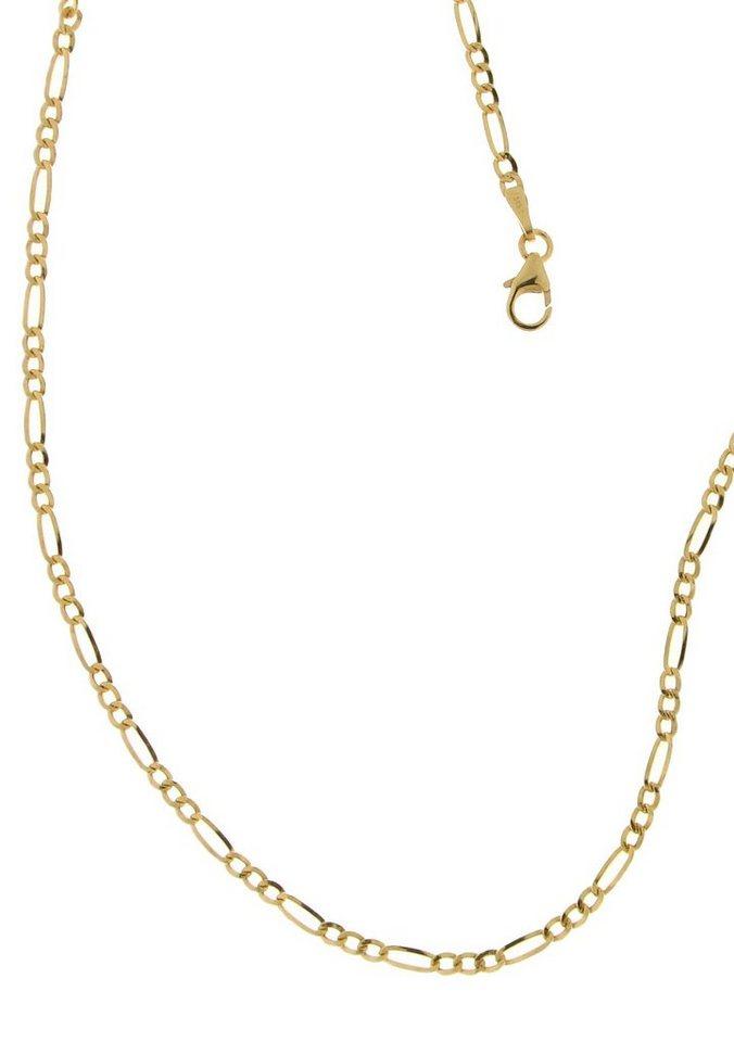 firetti Halsschmuck: Halskette / Collierkettchen in Figarokettengliederung in Gelbgold 585