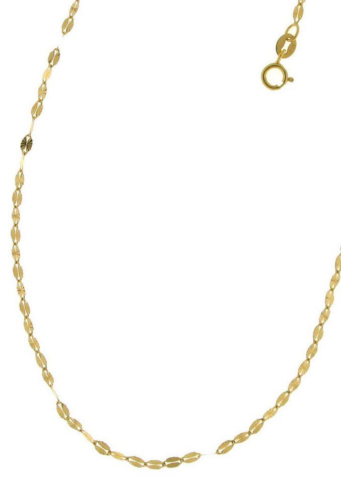 firetti Halsschmuck: Halskette / Colllierkettchen in Plättchenkettengliederung, diamantiert in Gelbgold 375