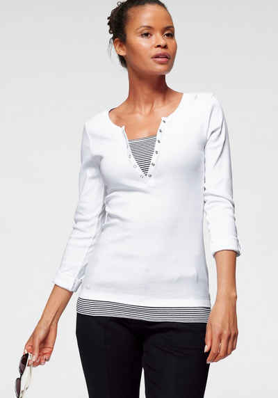 KangaROOS 2-in-1-Shirt mit geöffneter Zierknopfleiste und Turn-up Ärmeln