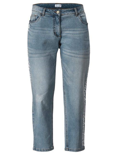 Hosen - Angel of Style by HAPPYsize 5 Pocket Jeans mit Schriftzug Print seitlich ›  - Onlineshop OTTO