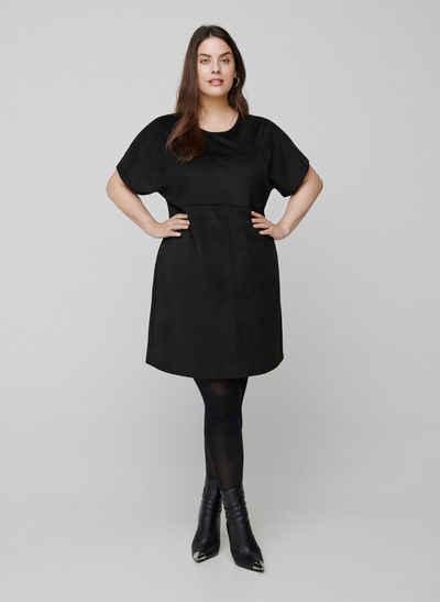 Zizzi Longshirt Große Größen Damen Bluse aus Kunstwildleder mit Knöpfen und Rundhalsausschnitt