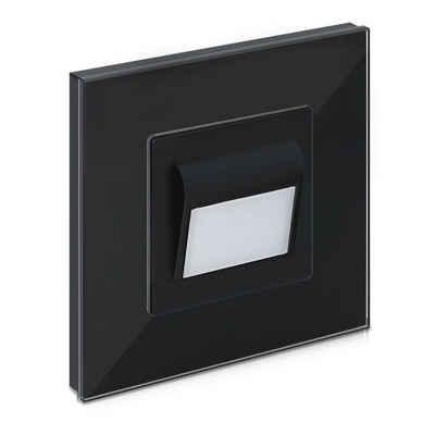 Navaris LED Wandleuchte, Flur und Treppenlicht mit Glasrahmen - 1W - warmweiß - 8,5 x 8,5 x 4cm - LED Glas Wandleuchte Treppenbeleuchtung - Einbauleuchte