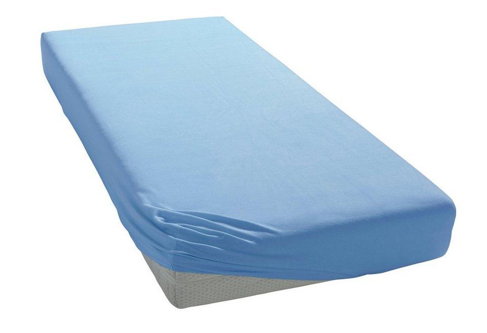 Spannbettlaken, Estella, »Frottee«, wärmendes Material in hellblau