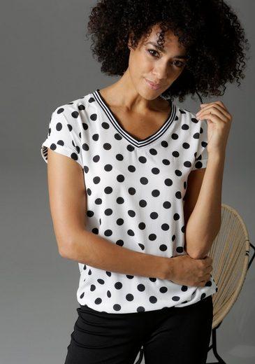 Aniston CASUAL T-Shirt im Material- und Mustermix - NEUE KOLLEKTION
