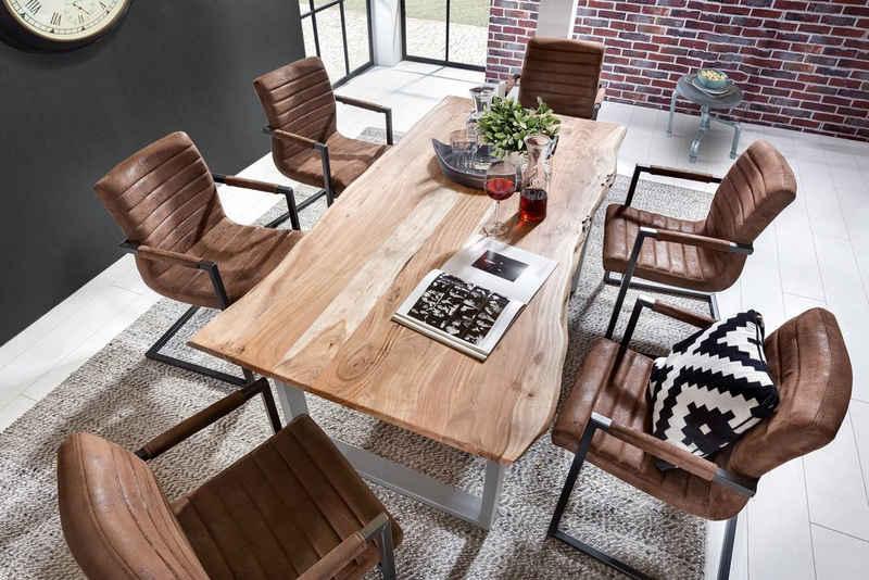 SAM® Essgruppe, Akazie Massivholz naturfarben natürliche Baumkante & 6x Stuhl Parzivo
