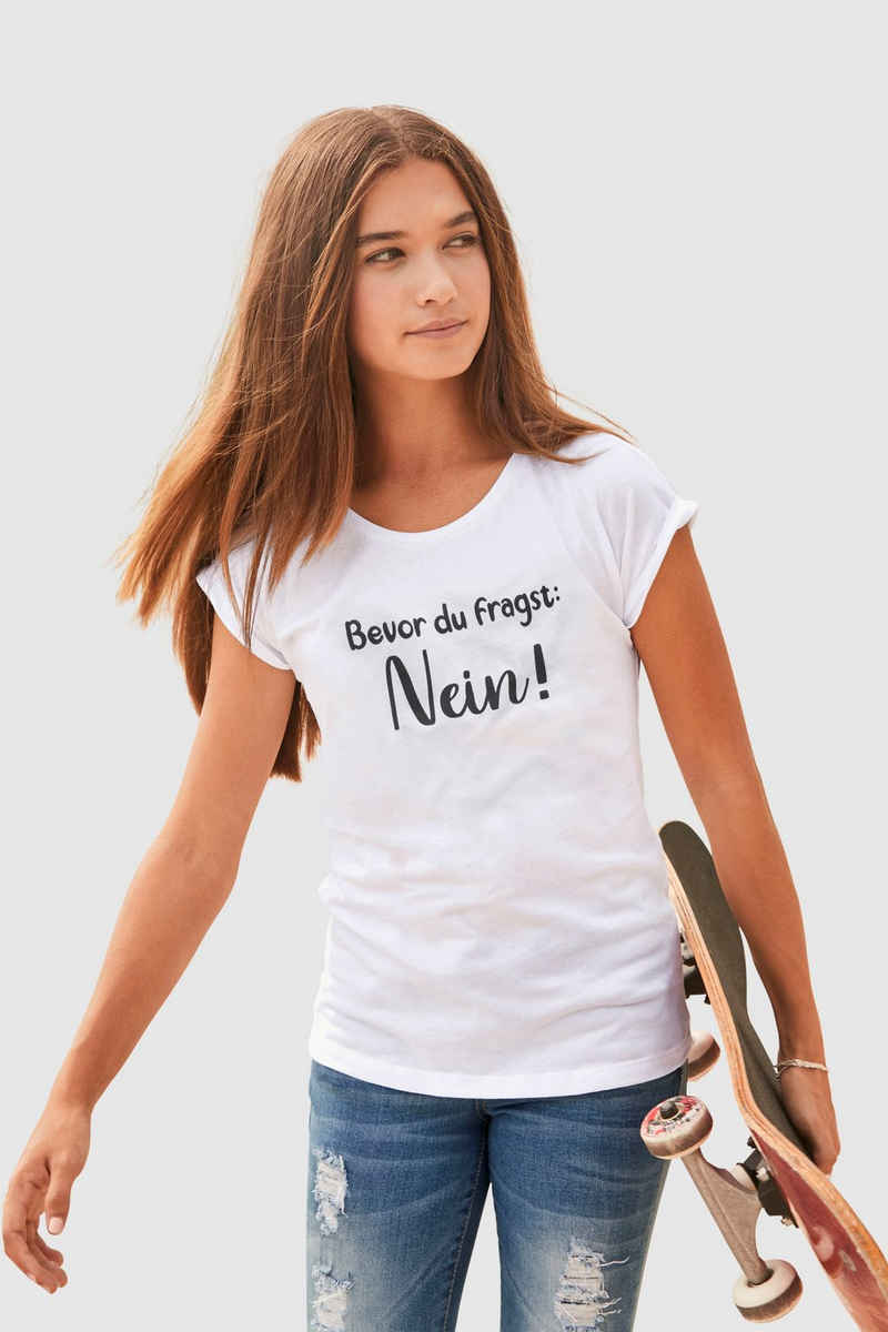 KIDSWORLD T-Shirt »Bevor Du fragst: NEIN!« in weiter legerer Form