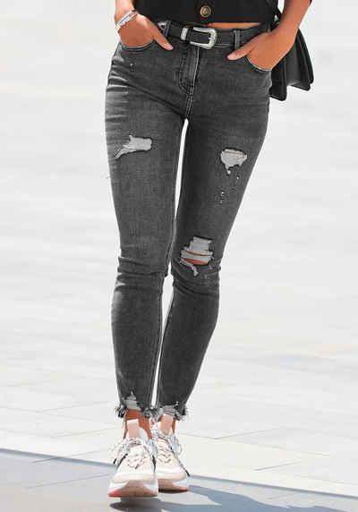 Buffalo Destroyed-Jeans mit ausgefranstem Beinabschluss