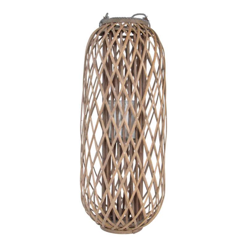 Lesli Living Windlicht »Windlicht Laterne Kerzenhalter Bodenlicht Sylt Holz Landhaus Look Ø36x90 cm«