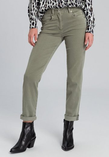 MARC AUREL 5-Pocket-Jeans mit aufgenähtem Metalllogo