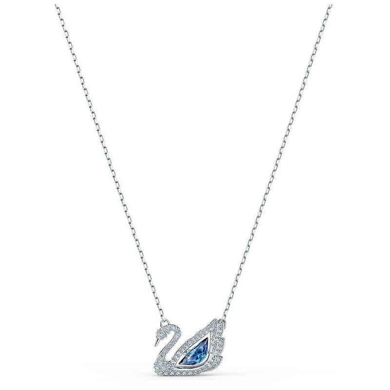 Swarovski Kette mit Anhänger »Swarovski Halskette 5533397 Dancing Swan, blau,« (kein Set, inkl. Schmuckbox)