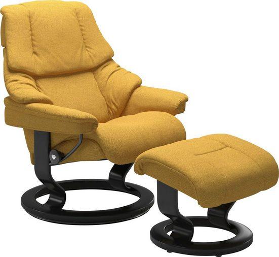 Stressless® Relaxsessel »Reno« (Set, 2-tlg., Relaxsessel mit Hocker), mit Hocker, mit Classic Base, Größe S, M & L, Gestell Schwarz