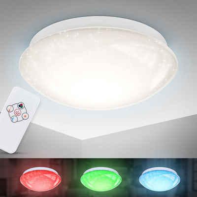 B.K.Licht LED Deckenleuchte, LED RGBW Deckenlampe 4-stufig dimmbar mit Farbwechsel inkl. 10W LED SternenhimmelI Nachtlichtfunktion warmweiße Lichtfarbe IR-Fernbedienung
