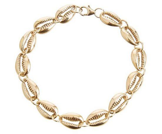 Gemshine Gliederarmband »Maritim Kauri Muschel«, 925 Silber vergoldet