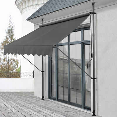 Pro-tec Klemmmarkise Markise »Lindos« 200x120cm grau Sonnenschutz