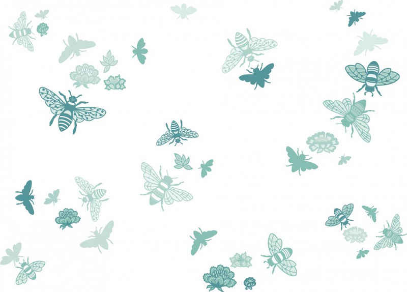anna wand Wandsticker »Bienen - Bee at home - mint/türkis - selbstklebend«