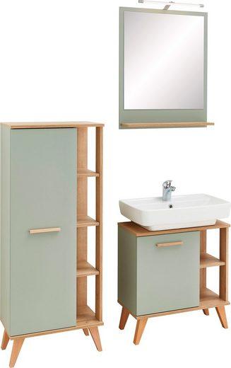 PELIPAL Badmöbel-Set »Salvie«, (3-tlg), aus Spiegel, Midischrank und Waschbeckenunterschrank, Holzgriff, Türdämpfer