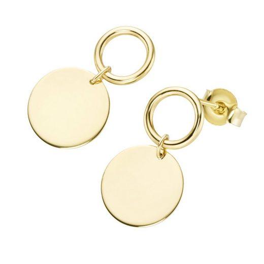 Luigi Merano Paar Ohrstecker »mit rundem Plättchen und Ring, Gold 375«