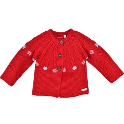 "BONDI Strickjacke »Baby Mädchen Jacke ""Blümchen"" 86561 - Rot, Trachten Kinderjacke Zopfmuster«"