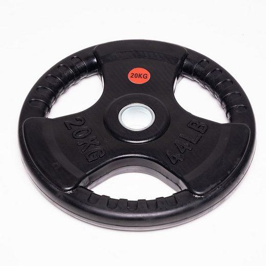 Technofit Hantelscheiben »Hantelscheiben 2x 20 kg schwarz gummiert für 50 mm Hantelstangen«