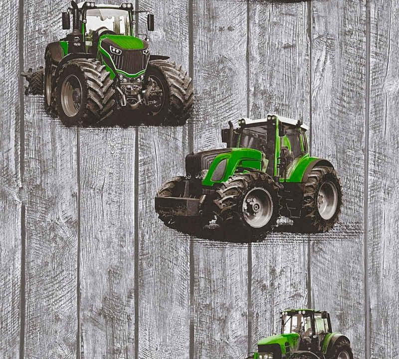 living walls Vliestapete »Little Stars«, glatt, Holz, Kinderzimmertapete mit Traktoren für Jungen, PVC-frei