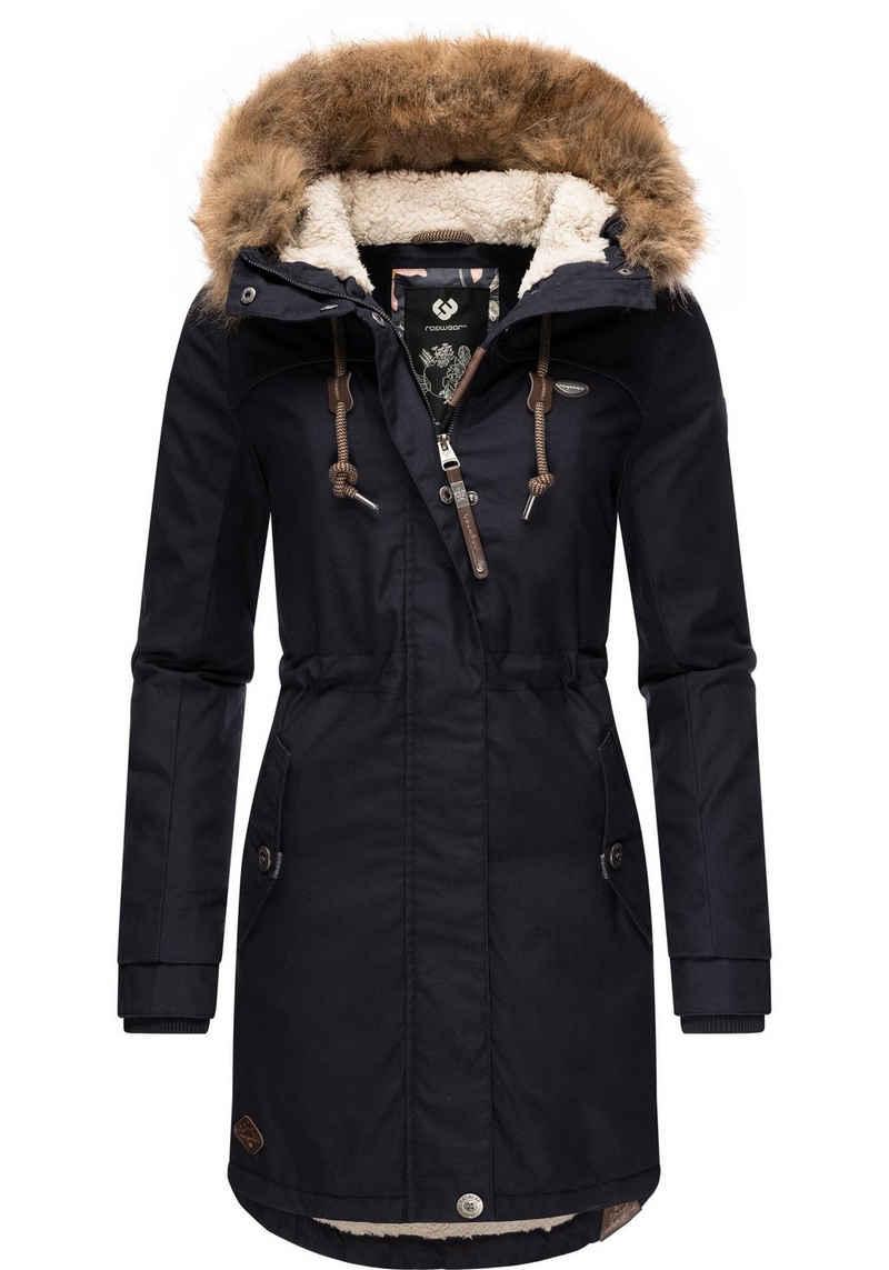 Ragwear Winterjacke »Tawny« stylischer Winterparka mit großer Kapuze und Kunstfellkragen