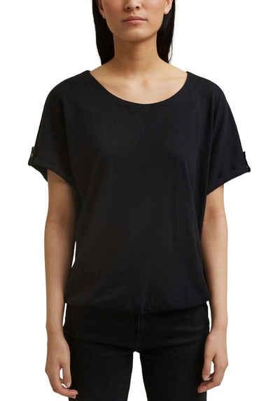 Esprit T-Shirt in Oversized Schnitt mit weiten Ärmeln und Aufschlag