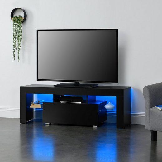 en.casa TV-Board, »Grimsey« TV Lowboard mit LED Beleuchtung und Glasablage