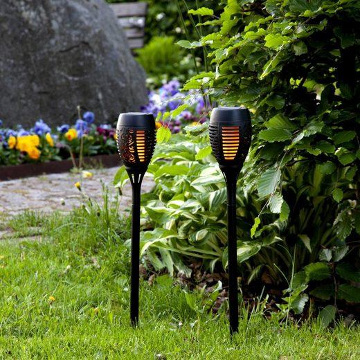 STAR TRADING LED Pollerleuchte »LED Solar Wegeleuchte Fackel FLAMME mit bewegtem Feuereffekt H: 50cm Lichtsensor 2 Stück«