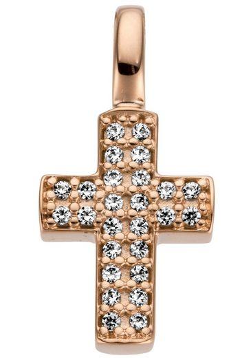 JOBO Kettenanhänger »Kreuz«, 585 Roségold mit 26 Diamanten