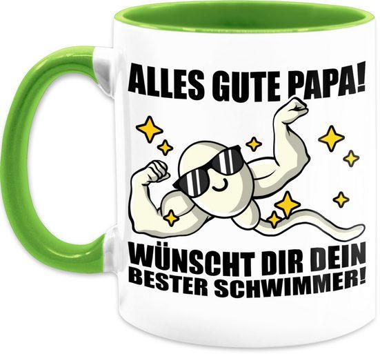 Shirtracer Tasse »Alles Gute Papa! Wünscht dir dein bester Schwimmer - schwarz - Vatertagsgeschenk Tasse - Tasse zweifarbig«, Keramik