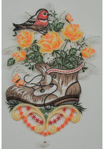 Stickereien Plauen Fensterbild »Pflanzschuh su Vogel«