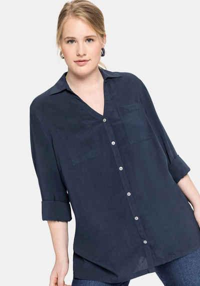 Sheego Hemdbluse mit V-Ausschnitt und Brusttaschen