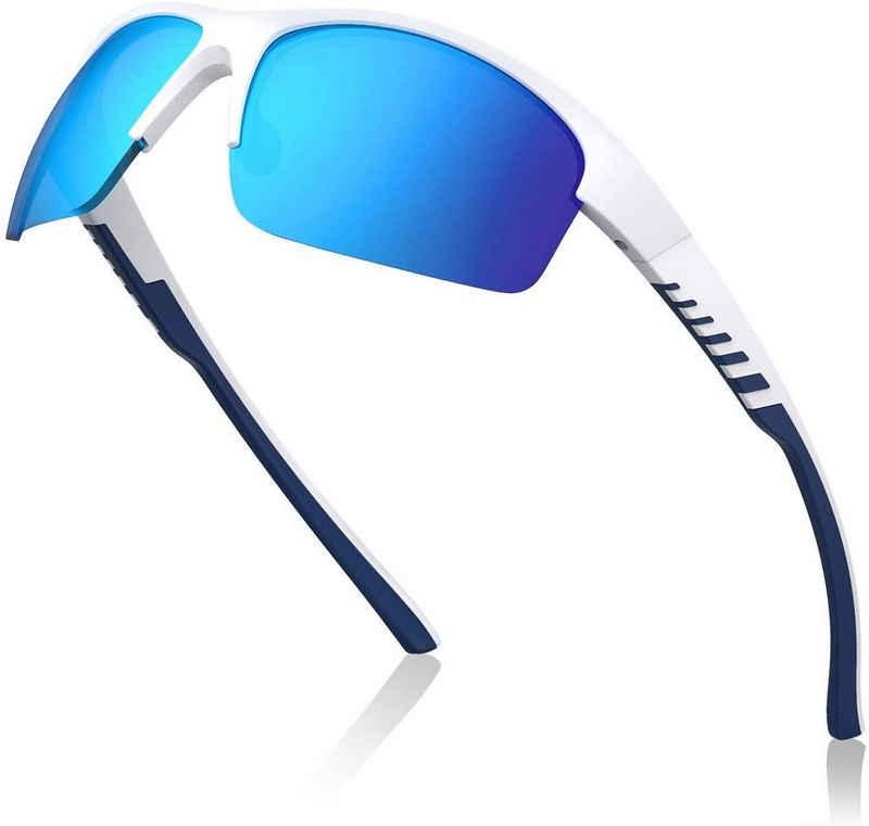Avoalre Fahrradbrille, (Sonnenbrille Brille Angeln mit Rahmen TR90 Super Light Skibrille-Blau), Avoalre Fahrradbrille Sportbrille Winddicht Fahrrad Sonnenbrille Anti UV400 fahradbrille Herren