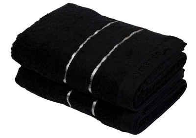 Aymando Handtuch Set »Dubai Kollektion« (Spar Set, 2-tlg), Duschtuch Badetuch luxuriöse Verarbeitung Qualität aus 100% bester ägyptischer premium Baumwolle (GIZA 86) 70x140cm 600 g/m², Black-Silver