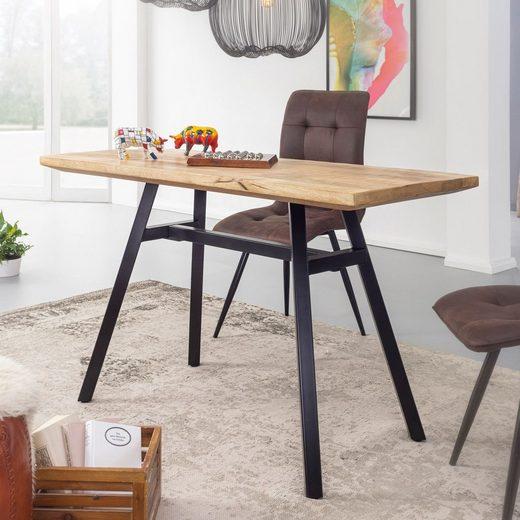 Wohnling Esstisch »WL5.952«, Mango Massivholz 180x78x90 cm Esszimmertisch Natur Küchentisch Massiv mit Metallgestell Loft Holztisch Industrial Tisch