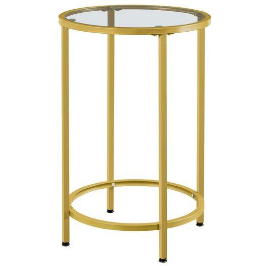 Yaheetech Beistelltisch, rund Glastisch mit goldenem Metallgestell, Kleiner Couchtisch, Nachttisch, Sofatisch, Robustes Hartglas, Ø 40 x 60 cm