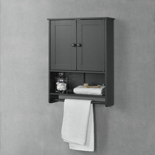 en.casa Hängeschrank »Steyr« Badezimmerschrank 65x49x15cm mit Handtuchhalter und Ablage Badschrank MDF dunkelgrau